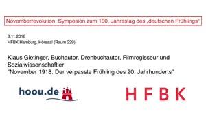 """Thumbnail - Novemberrevolution: Symposion zum 100. Jahrestag des """"deutschen Frühlings"""" - Klaus Gietinger"""