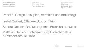 Thumbnail - Point of No Return: Point of Departure - Panel 3: Design konzipiert, vermittelt und ermächtigt